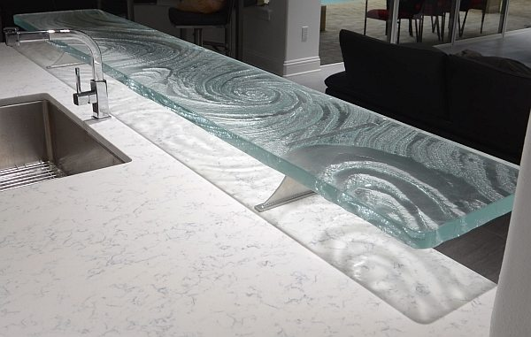Glass Countertop Options : Glass High Bar shadows glass countertop