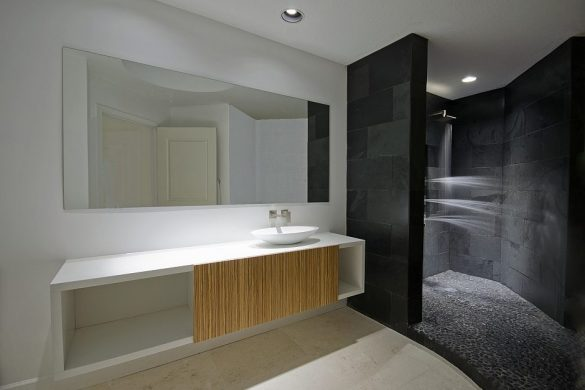 Vanity Floating with Teak and Slate Tiles