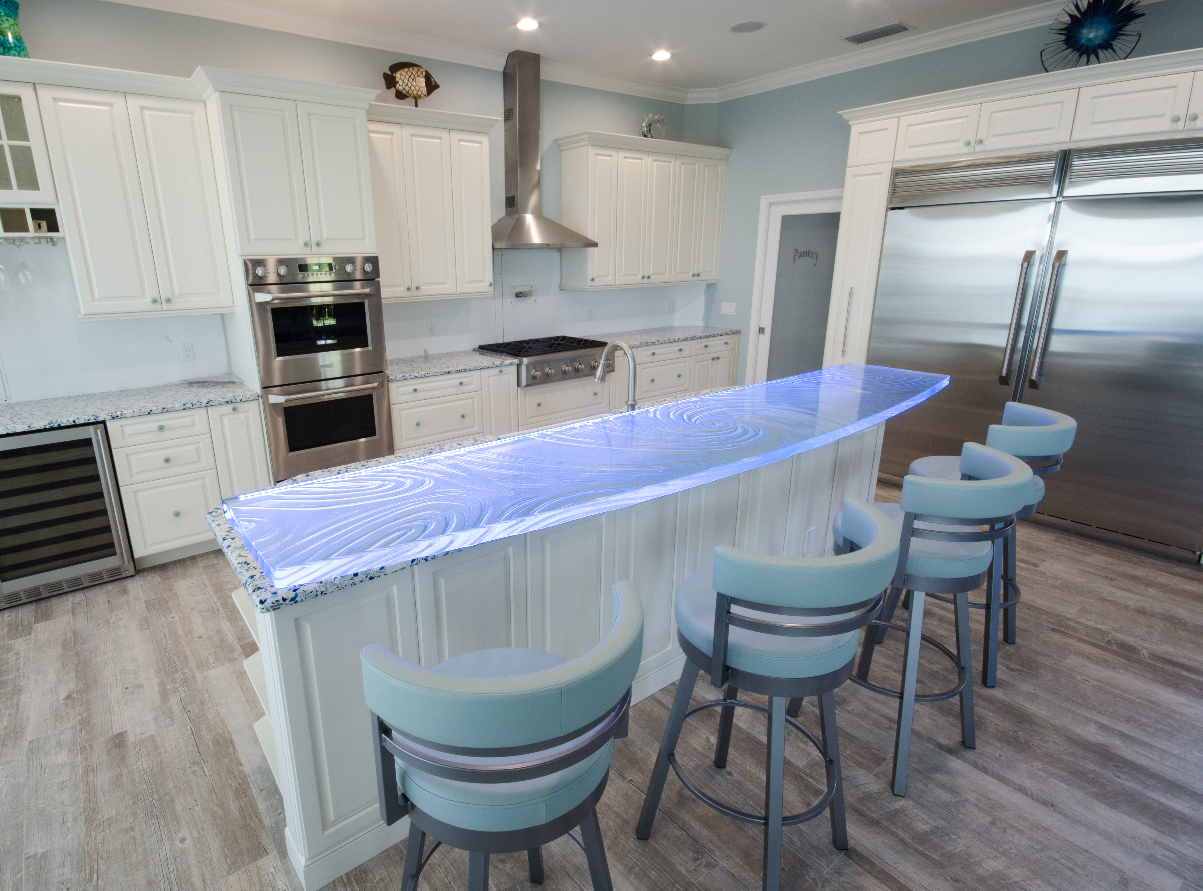 Custom Glass Countertop High Bar