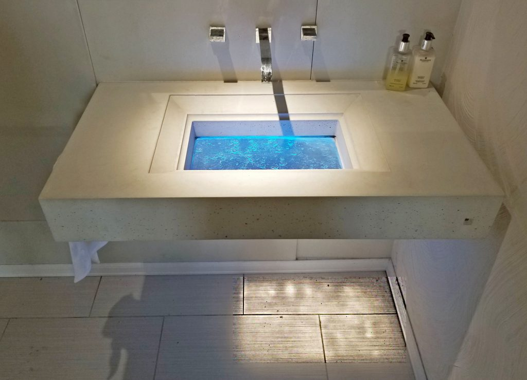 SurfSink Glass Sink Down Lit with 10 degree narrow beam ceiling light