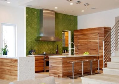 Concrete Countertop over Sequenced Veneer Island
