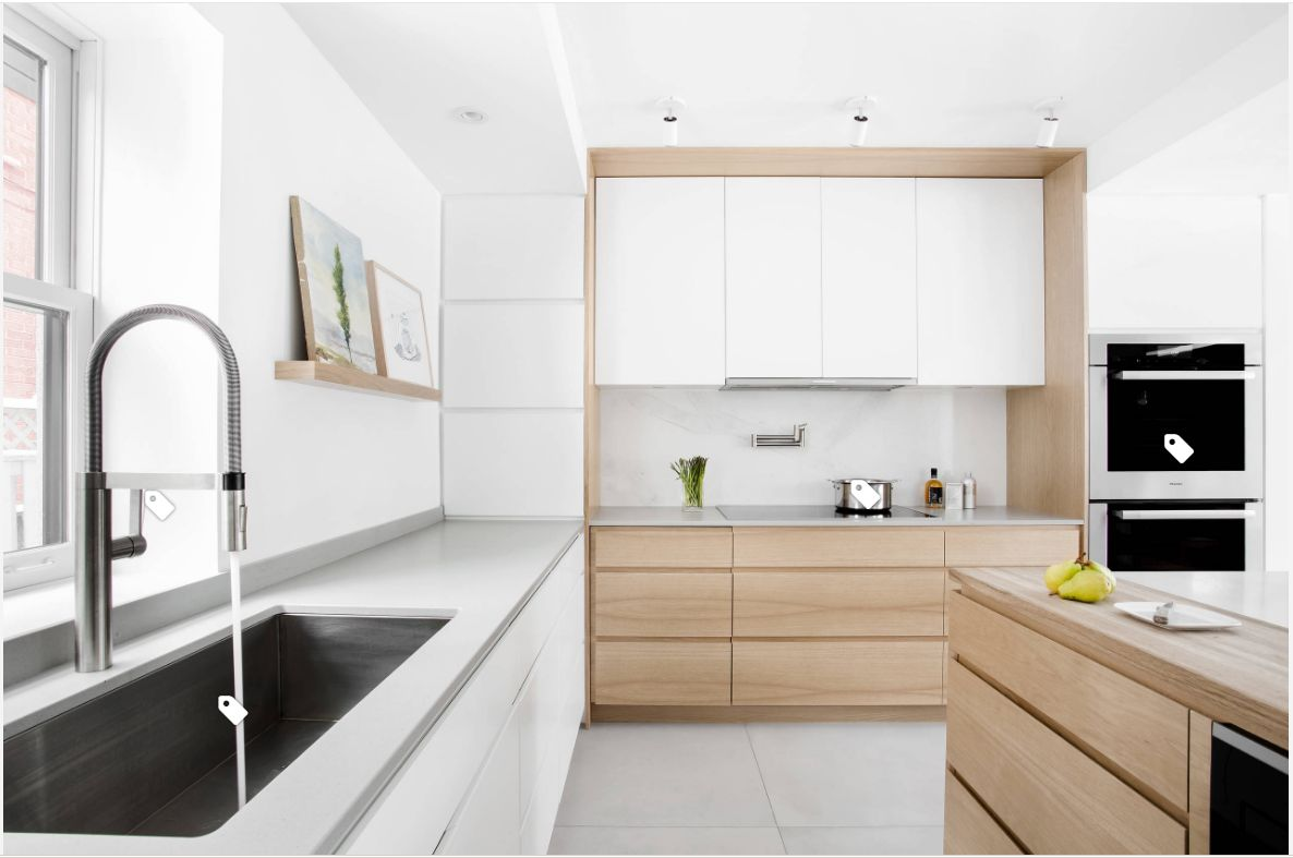 Modern Kitchen Designs with Sequenced Wood Veneers and White Glass ...