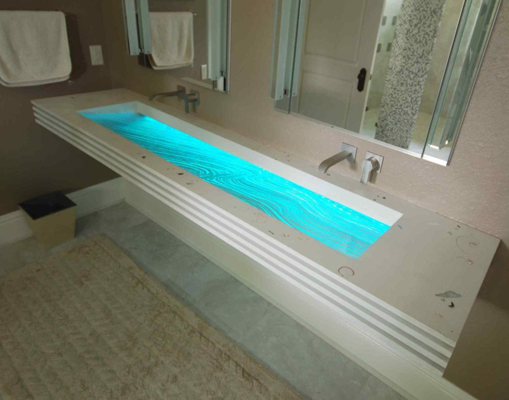 Custom Floating Bathroom Sink with Textured Glass Basin in Sarasota Florida Modern Bath showroom