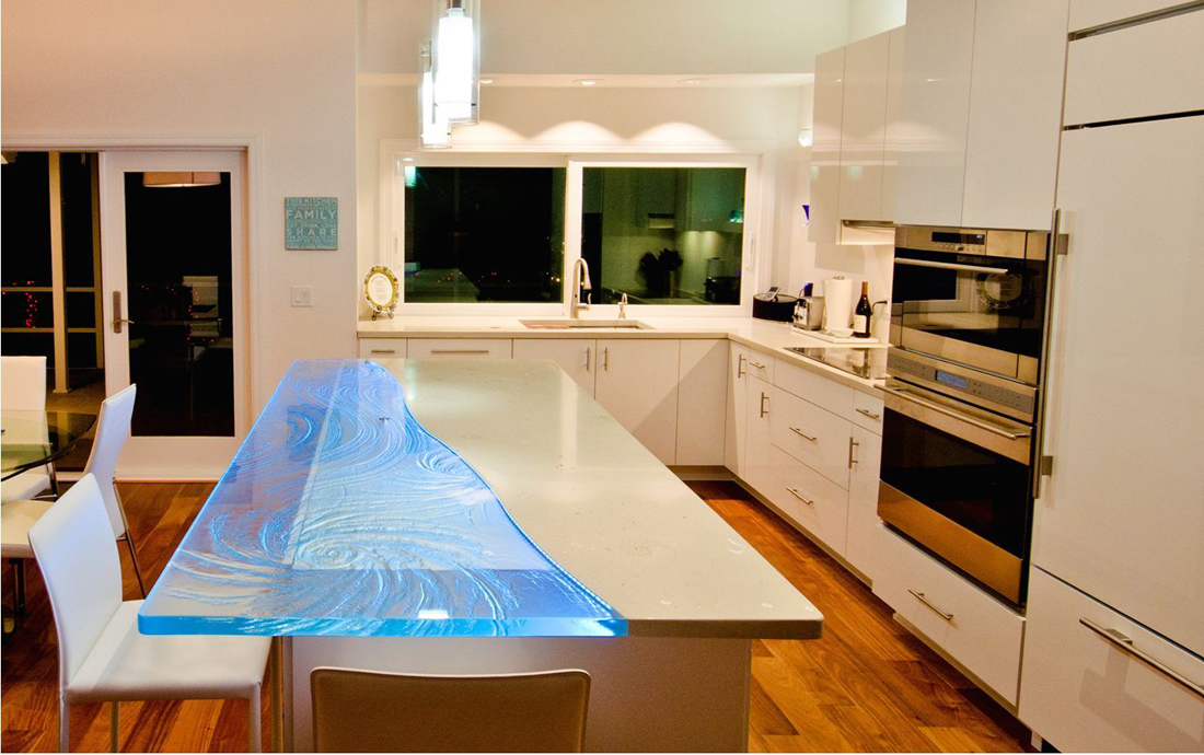 Seashells in Concrete Countertop with Textured Glass complement in modern Tampa Florida home