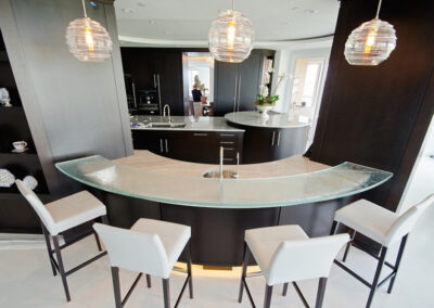 Curved front textured glass countertop in Naples Florida