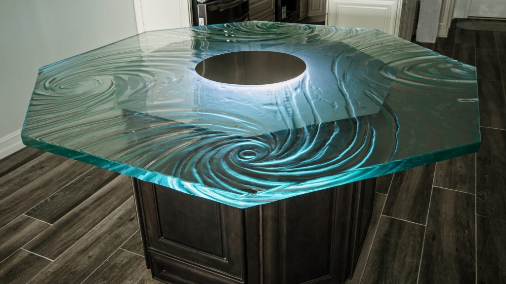 LED illuminated textured glass dining table topLED illuminated textured glass dining table top