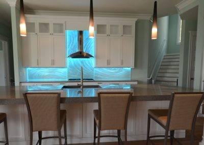 Modern Glass Kitchen Backsplash Sarasota Florida with artistic texture and LED Lighting modern design