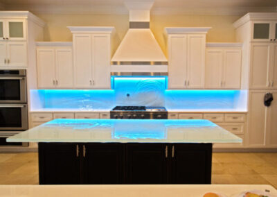 Modern Glass Kitchen Backsplash St Petersburg Florida with artistic texture and LED Lighting modern design