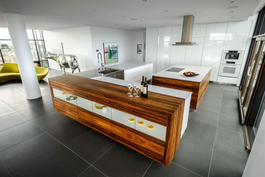 white countertops on wood cabinet