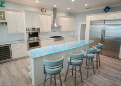 Floating Textured Glass High Bar in White Kitchen Contemporary style.