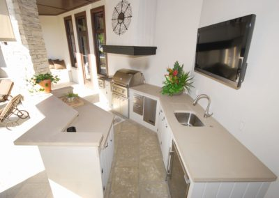 Thick Concrete Countertop In Outdoor Kitchen in light brown in St Petersburg Florida