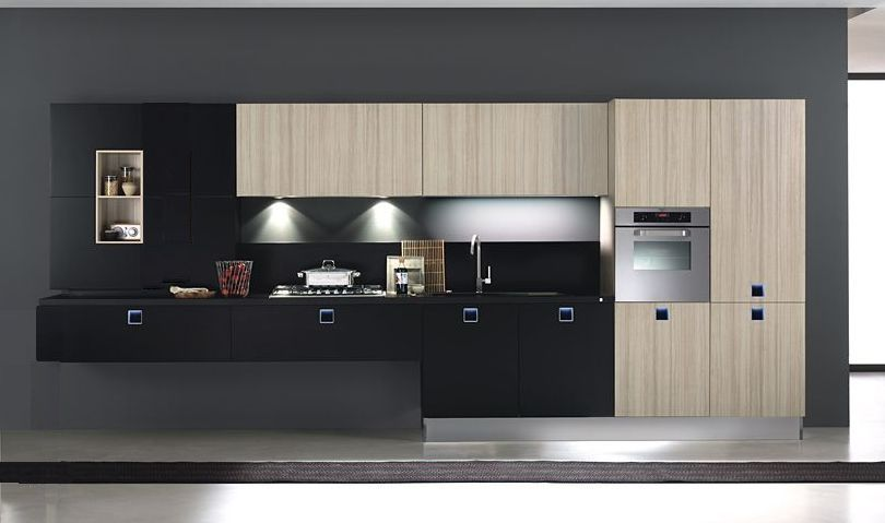 black countertops on wood cabinet