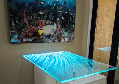 Textured Glass Table top in Ft Myers Florida with LED lighting in Coastal Kitchen design