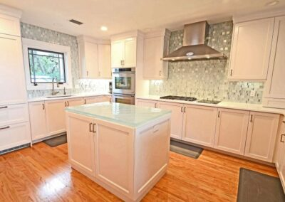 White Glass Countertop St Petersburg with thick textured glass island