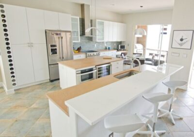White Glass Countertop in Ft Myers Florida in modern kitchen design