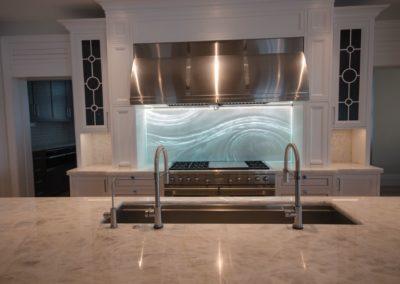 Custom Kitchen Backsplash in textured glass