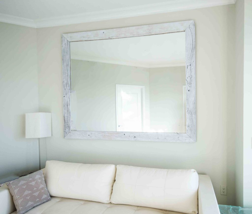 Reclaimed Wood Mirror Whitewashed