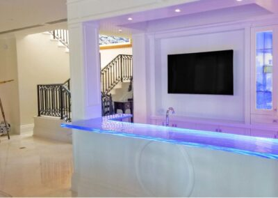Glass Countertop and High Bar Miami with LED lighting strip