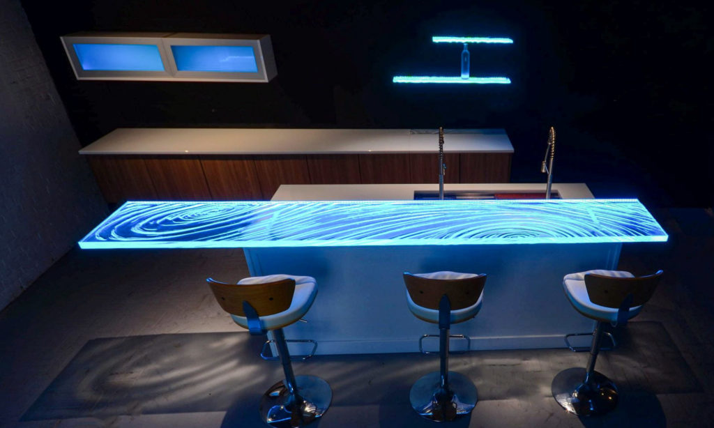 Down lighting of Glass Countertop with LED