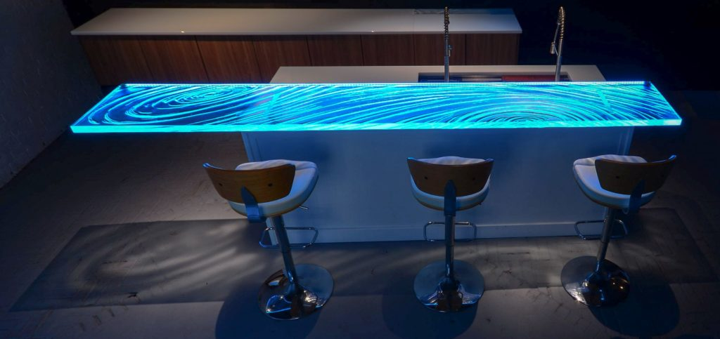LED and Down lighted Glass Countertop