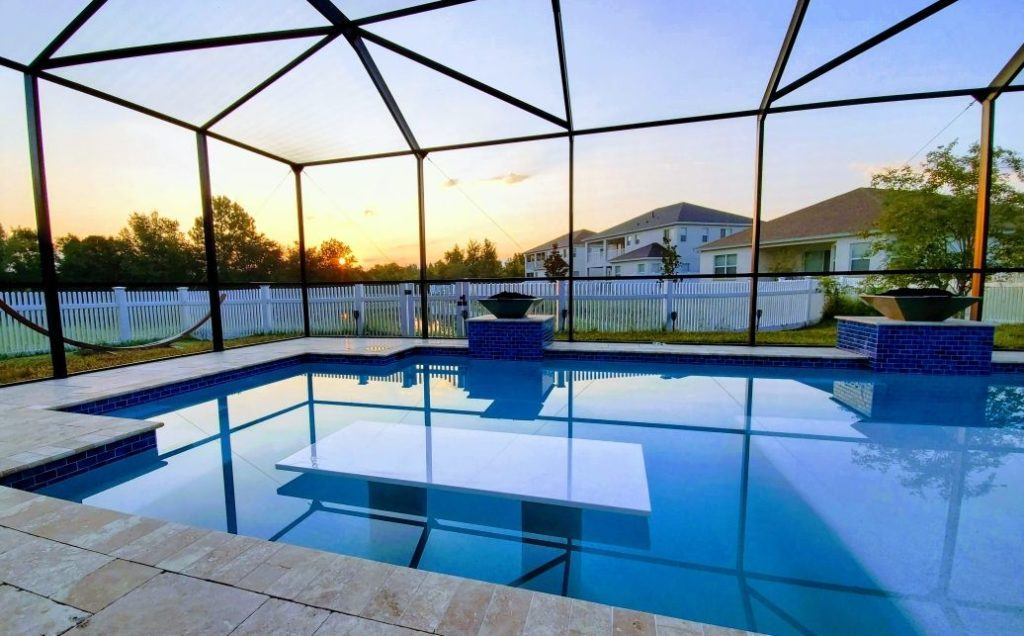 White Glass Countertops in pool