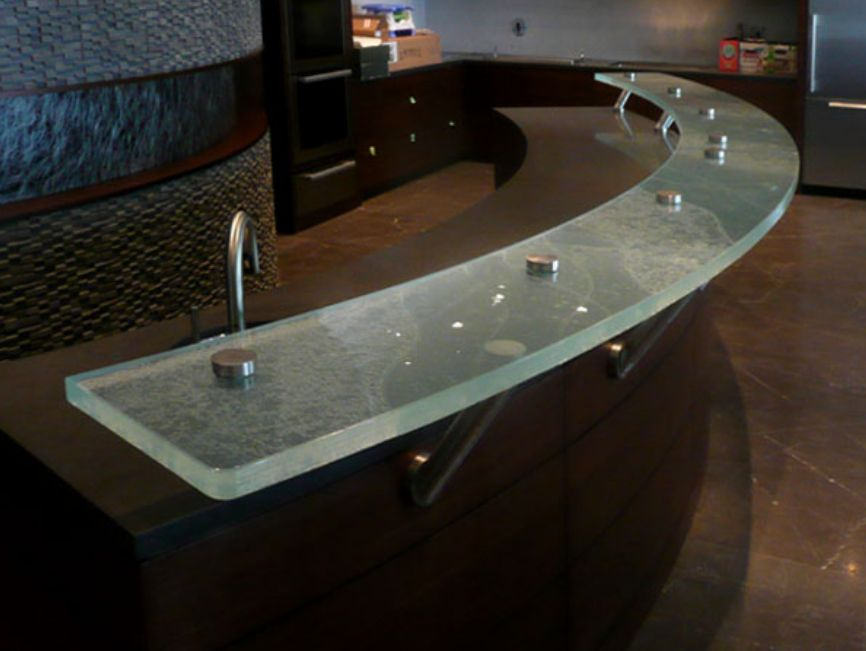 Glass Countertop with Hockey Pucks and Intrusive supports