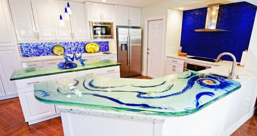 Glass Countertops With Colored Frit