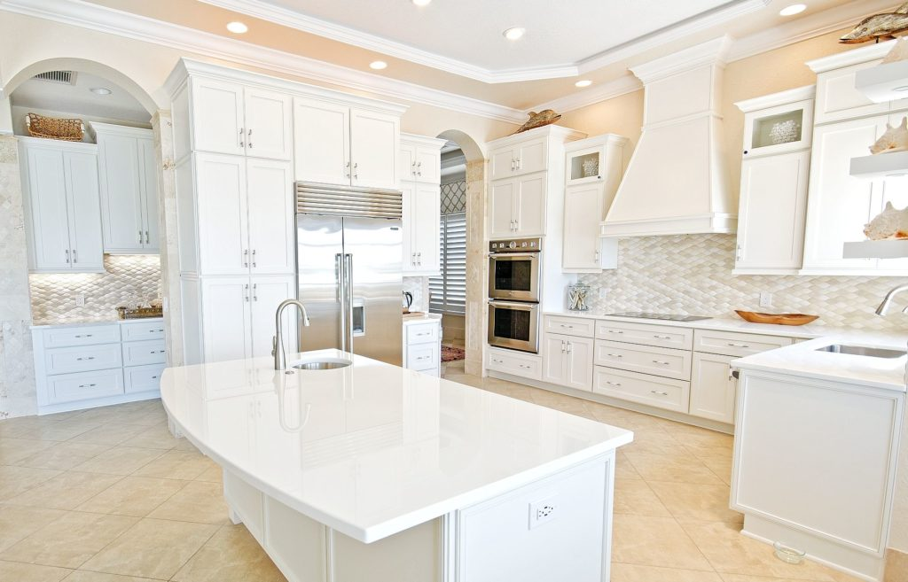 White Glass Countertops in Kitchen