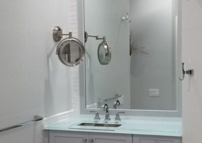 "Light Blue 1"" glass vanity top backpainted glass"