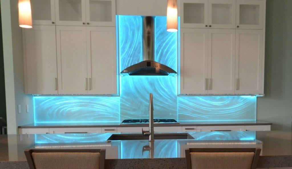Textured Glass Backsplash Backpainted with LEDs