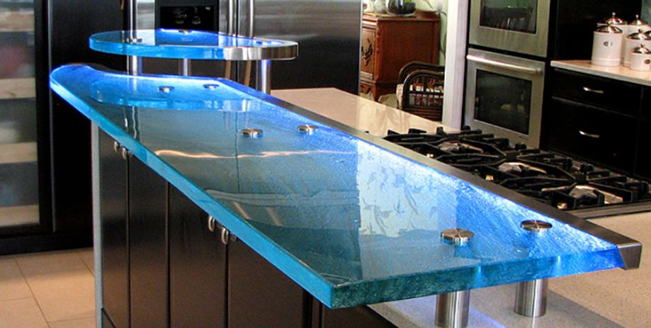 Glass Countertop with fat supports and LED covers