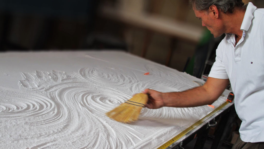 Hand Texturing Kiln Bed for Glass Countertops