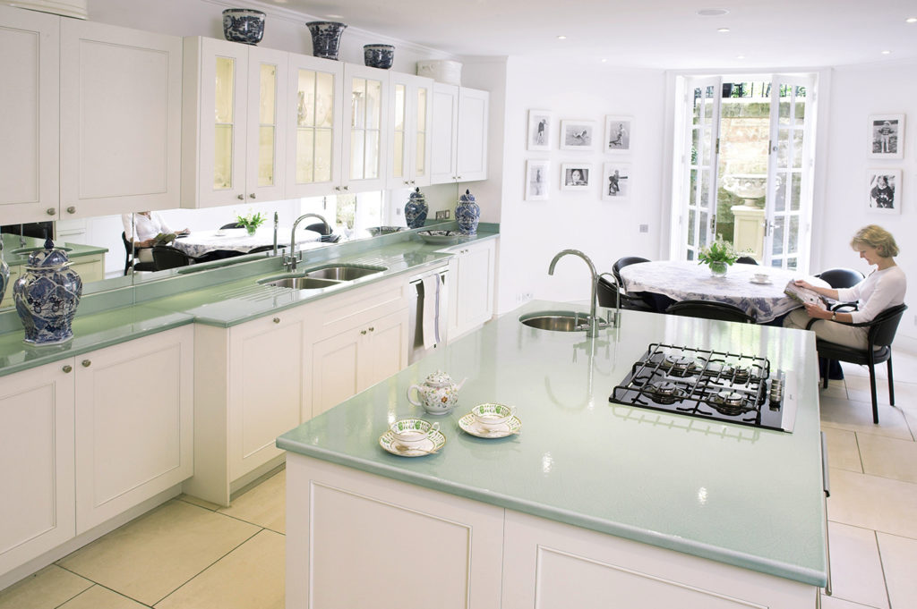 Light Green Lava Stone Top Kitchen