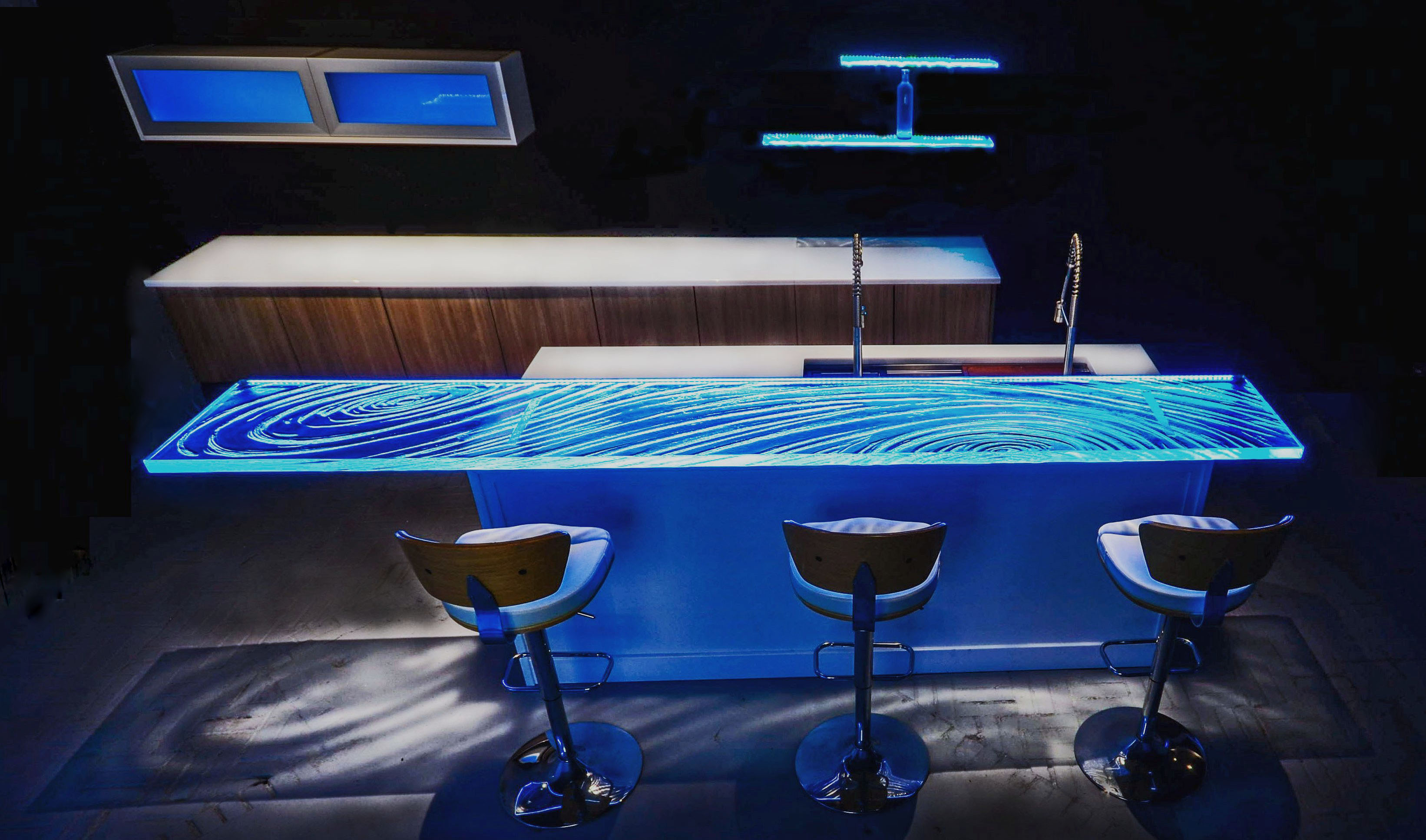 Dazzling Glass Countertop High bar at Downing Designs in Tampa,FL: