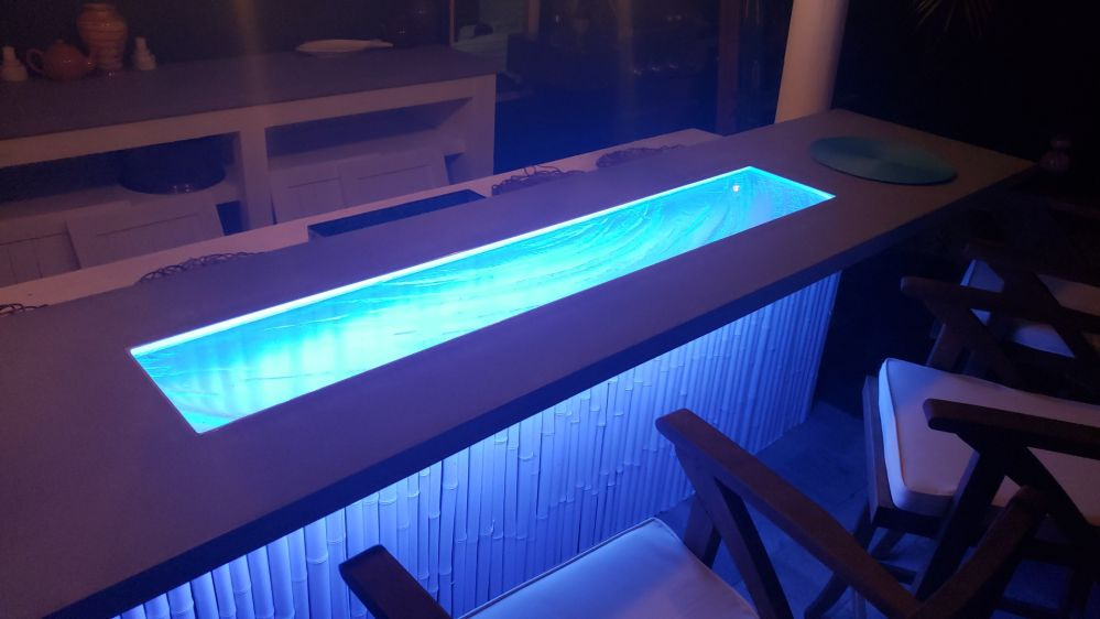 Glass and Concrete High Bar at Night with LED