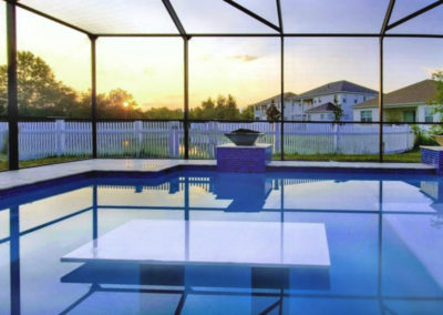 White Glass table Top in Pool