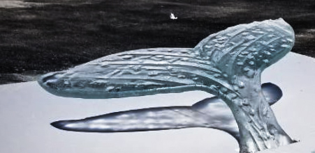 Whale Tail Table in White Glass Table outdoor