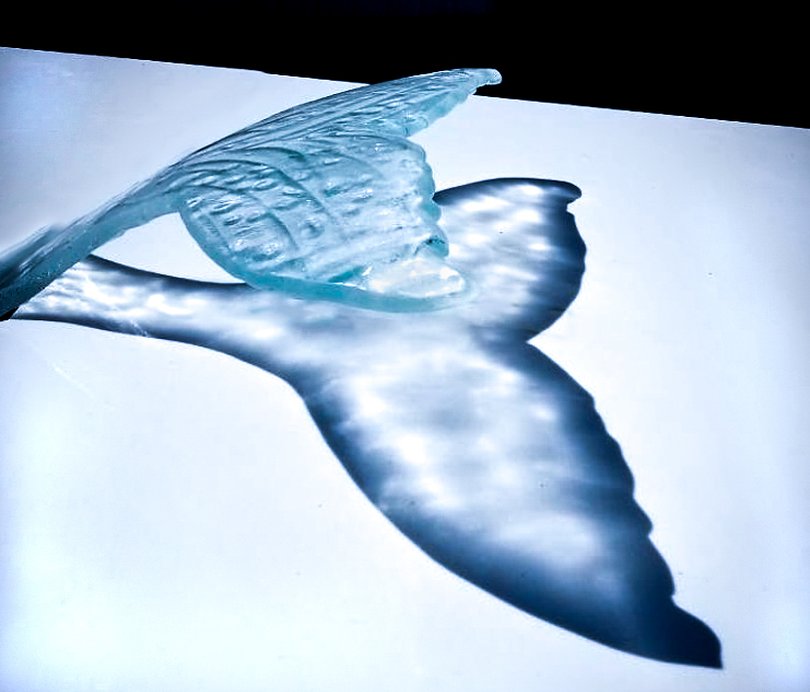 Whale Tail Table in White Glass Table