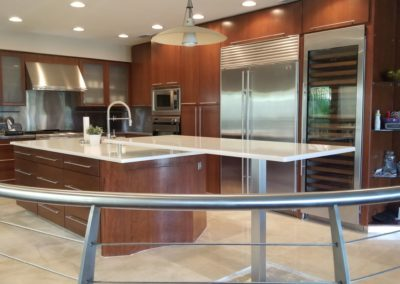 White Glass Countertop Island in modern home in tampa, fl