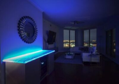 Glass Countertop Blue Light LED at Night