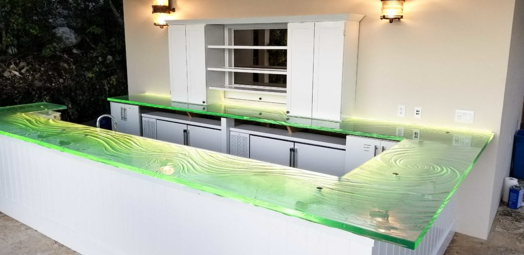 LED lit Glass Bar Countertop