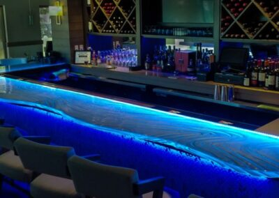 Acqua Cafe West Palm Beach Florida Glass Bar Top Textured Glass with LED lighting