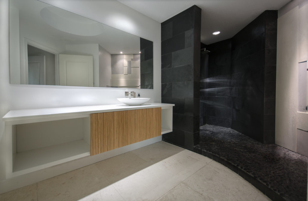 Contemporary Bath with concrete Wall tile shower