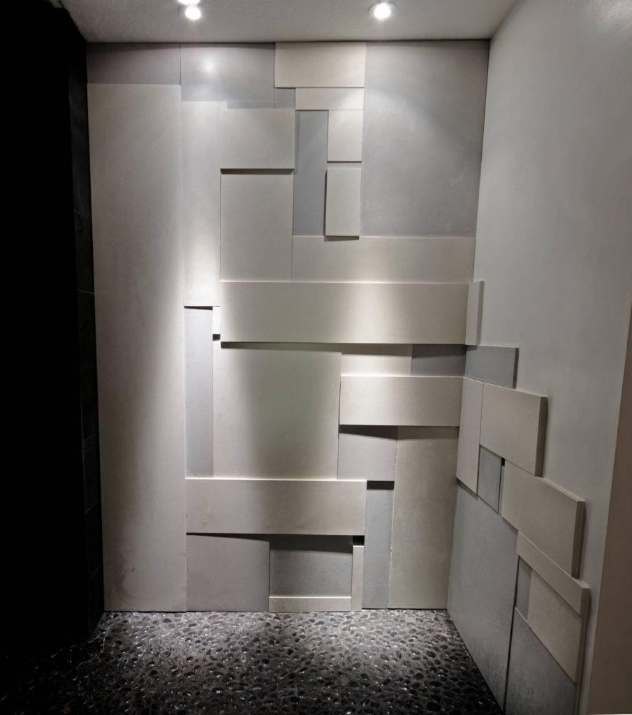 Bath with concrete Wall tile shower ala Mondrian