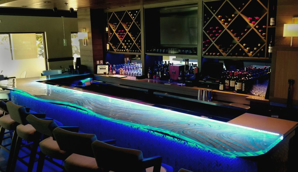 Acqua Cafe West Palm Beach custom glass countertop