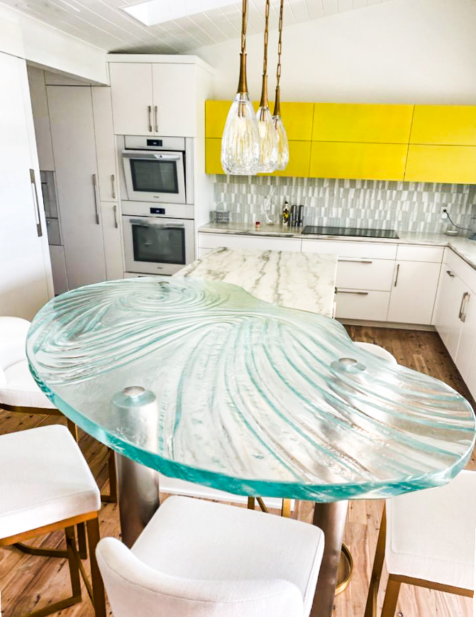 Custom Glass Countertop for a Kitchen Island.