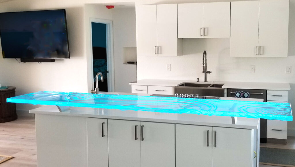 Glass Countertop in Bright White Kitchen in St Petersburg, Fl