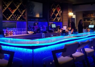Acqua Cafe Restaurant Illuminated Glass Bar Top in West Palm Beach