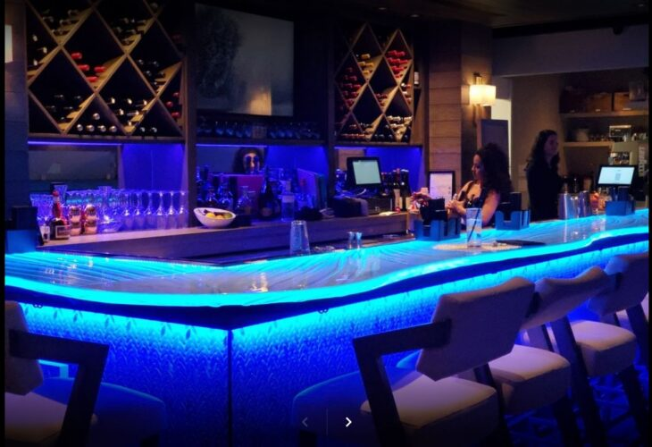 Glass Bar restaurant countertop with led illumination price of glass countertops