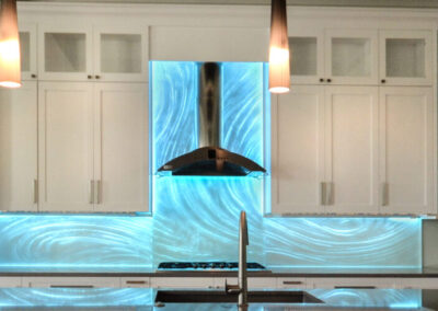 Glass Backsplash backpainted with LED lighting Sarasota